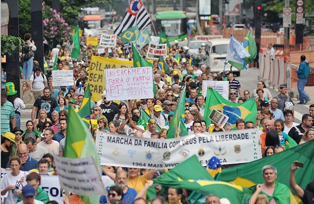 El 15 de marzo pasado una multitud llenó la avenida Paulista en una protesta anti PT y anti Dilma, en São Paulo. Fotografía: Reinaldo Canato/Folhapress.