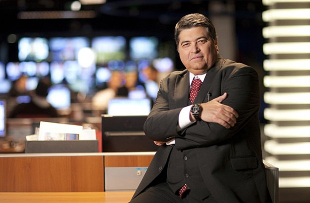 """El conductor del programa """"Brasil Urgente"""", José Luiz Datena. Fotografía: Divulgação."""